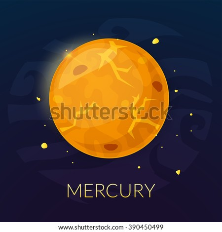 The planet Mercury, vector illustration isolated on background - stock vector