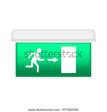 The plate with the sign of an emergency exit indicating the direction of exit in case of danger, the illuminated lamp. Isolated on white background. - stock vector