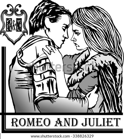 The play Romeo and Juliet is a tragedy written by William Shakespeare. - stock vector