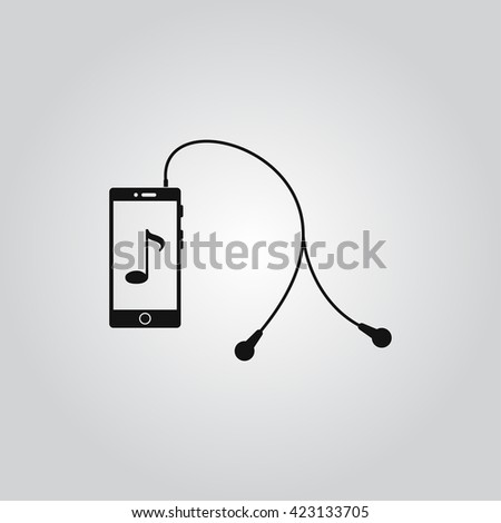 The player mobile phone with headphones vector icon - stock vector