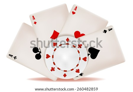 the poker card and chip - stock vector