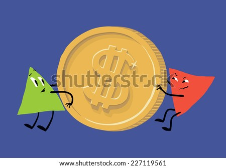 The positive and negative dynamics of the dollar. Inflation in the USA (Dollar inflation, dollar crash, dollar collapse, dollar crisis). Author's vector illustration. - stock vector