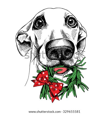 The poster with the image of a dog portrait with the christmas wreath. Vector illustration. - stock vector