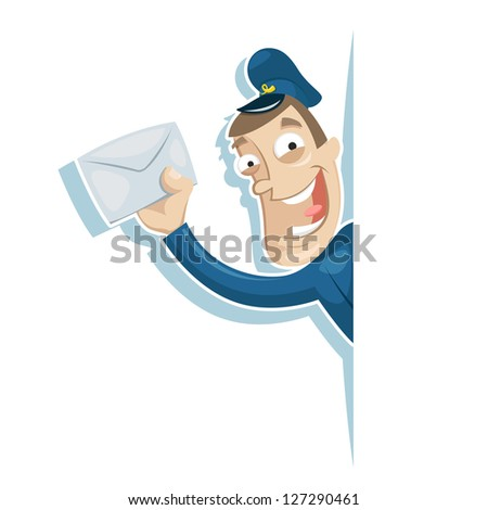 The postman brought the letter - stock vector
