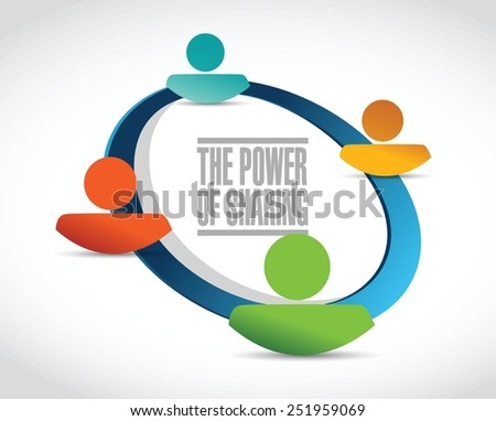 the power of sharing team illustration design over a white background - stock vector