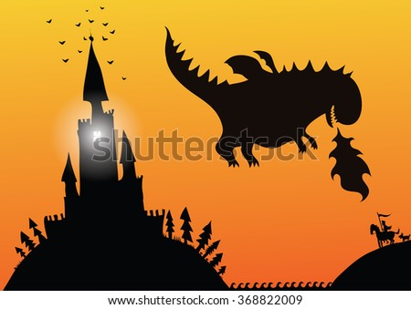 The prince saves the princess from the castle of a terrible dragon . Vector. Stock illustration - stock vector