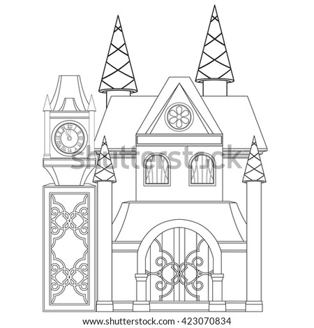 Princess Castle Coloring Book Page Stock Vector 423070834 - Shutterstock