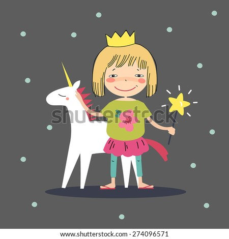 The princess with a magic wand and a unicorn. - stock vector