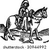 The Prioress woodcut (Geoffrey Chaucer's Canterbury tales, from Caxton's Edition of 1485)  - isolated vector illustration - stock vector