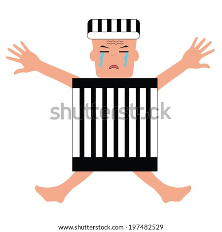 The prisoners were detained in prisons - stock vector
