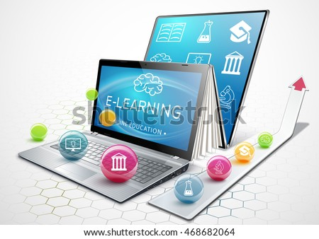 The process of education. Laptop as an Ebook. Online education. The concept of learning. Getting an education. Vector illustration.