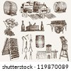 the production of sparkling wines. set of vector sketches - stock