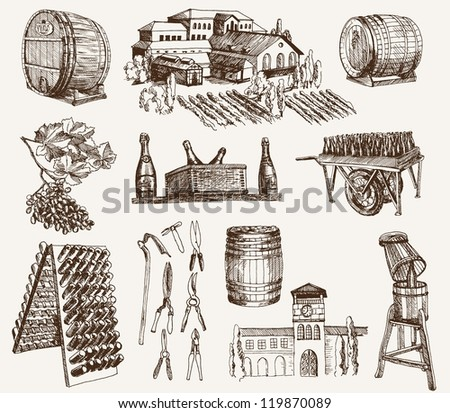 the production of sparkling wines. set of vector sketches - stock vector