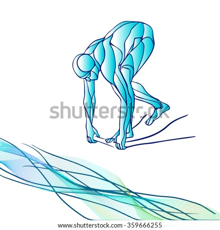 The professional swimmer starts to dive on the competition. Vector color silhouette illustration on white background