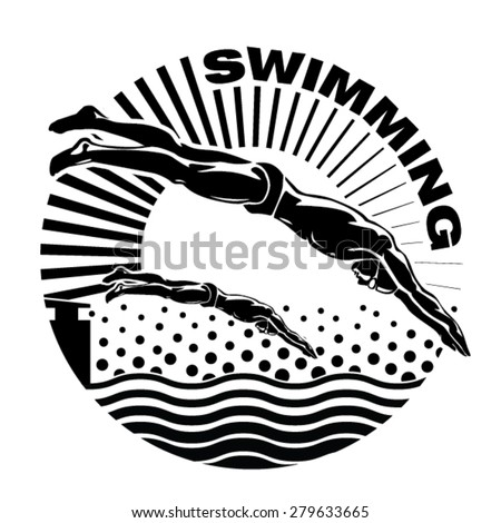 The professional swimmers dive on the competition. Vector illustration in the engraving style. - stock vector