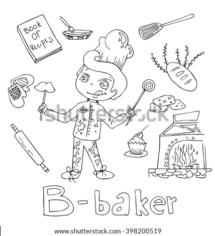 the professions baker in alphabetical order cartoon hand drawn outline for coloring adult isolated on the white background - stock vector