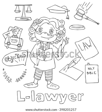 Professions Lawyer Alphabetical Order Cartoon Hand Stock Photo ...