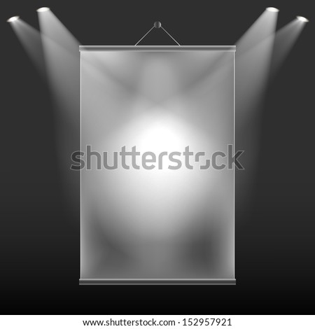 The projection of light on the wall screen - stock vector