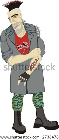 The punk characteristic for fate of the musician gesture - stock vector