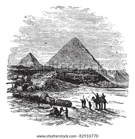 The Pyramids of Giza,Cairo, Egypt, vintage engraved illustration.Trousset encyclopedia (1886 - 1891).