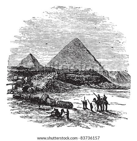 The Pyramids of Giza,vintage engraved illustration.Trousset encyclopedia (1886 - 1891).