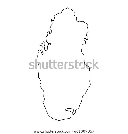 The Qatar Map Of Black Contour Curves Vector Illustration