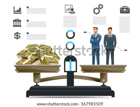 The quality of the businessman in info-graphics style. Economic growth comes with investor. Employees whose performance is worth the wages more paid. - stock vector