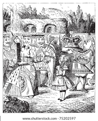 The Queen turned crimson with fury, and, after glaring at her for a moment like a wild beast, screamed ?Off with her head! Off... Alice's Adventures in Wonderland original vintage engraving. - stock vector