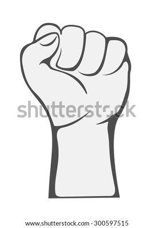The raised fist in protest isolated on white background, illustration. - stock vector