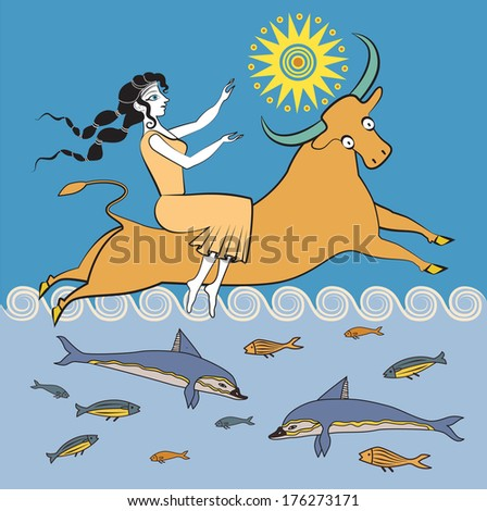 The rape of Europa - stock vector