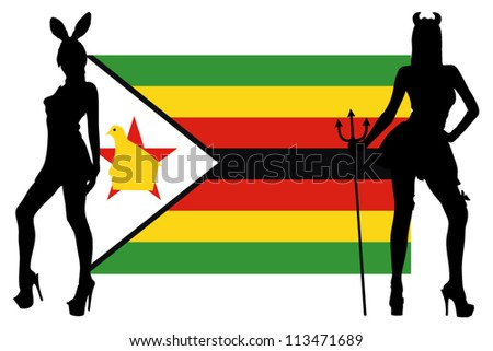 The Rawanda flag with silhouettes of women in sexy costumes
