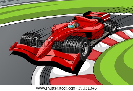 The red car the formula 1 on road. In movement. - stock vector