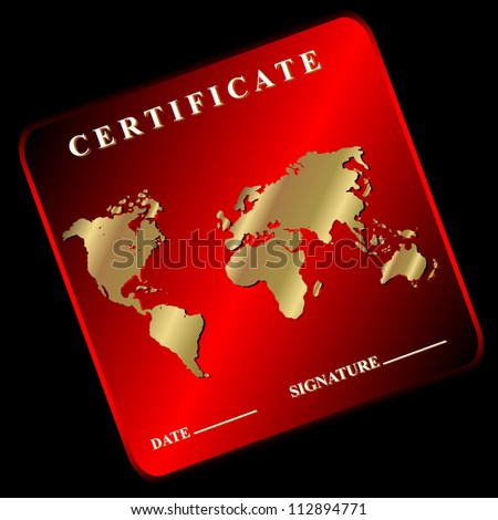 The red certificate in unique style on a black background