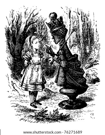 """The Red Queen chastises Alice - Original book engraving. """"Where do you come from?? said the Red Queen. ?And where are you going? Look up, speak nicely, and don?t twiddle your fingers all the time. - stock vector"""