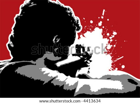 The Red Series No. 12: Grungy Vector guy aiming with Gun - stock vector