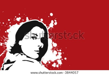 The Red Series No. 4: stylish vector Girl - stock vector