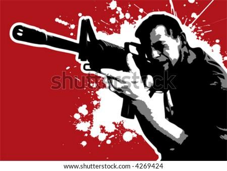The Red Series No. 9: Vector Gun Guy II - stock vector