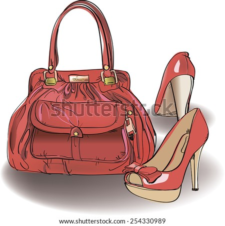 The red shoes with the red bag. Vector illustration. - stock vector