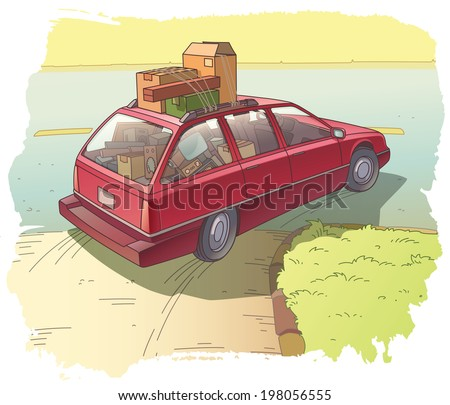 The red station wagon heavy loaded with the old boxes is making the turn.  - stock vector