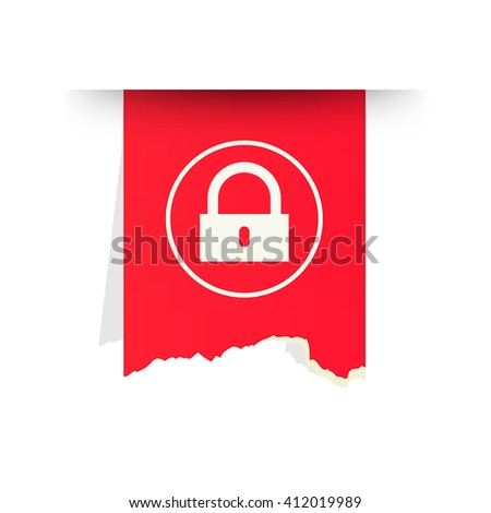 the red tattered label with lock pictogram / the access icon / the torn label with lock symbol - stock vector