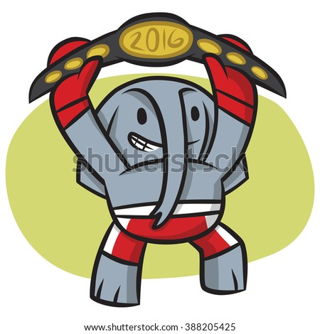 The republican elephant raises the belt above his head in triumph - stock vector