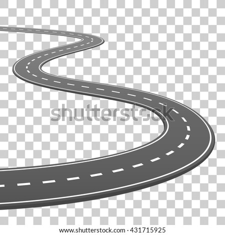 The road goes into the horizon, road on a transparent background, Vector illustration - stock vector