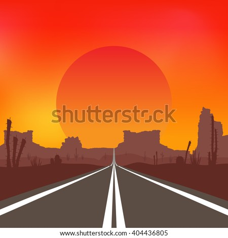 The road in the desert at sunset. Vector landscape.