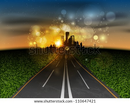 The road to the city at sunset - stock vector