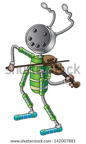 The robot plays the violin. Vector illustration. - stock vector