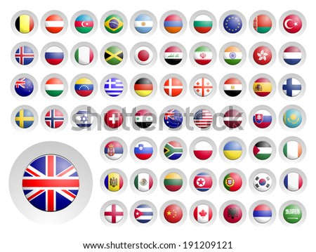 The round gray marker with flags. - stock vector