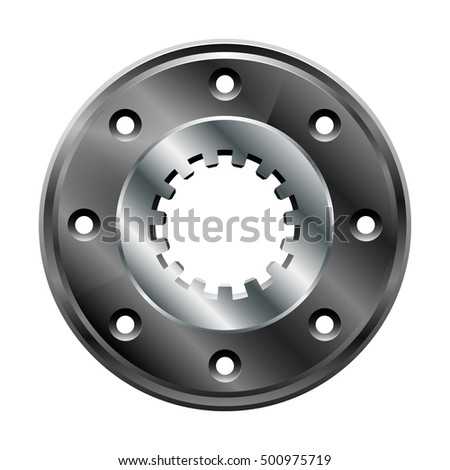 The round metallic flange with splined grooves. Vector illustration isolated on white background.