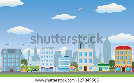 The row of houses. Vector illustration - stock vector