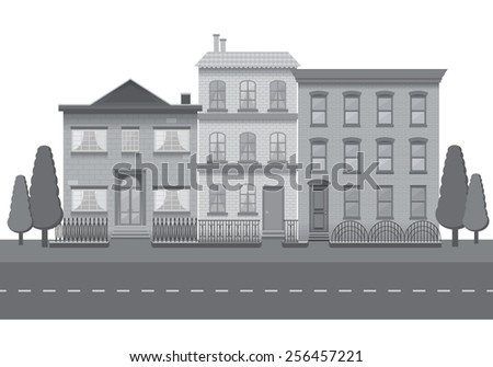The row of three black and white vintage houses. City background - stock vector
