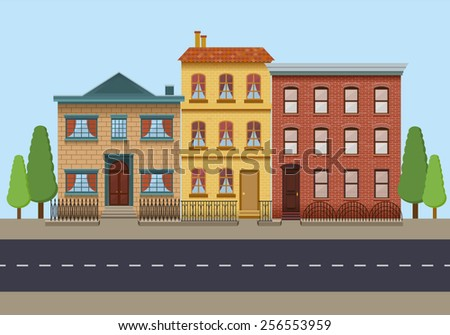 The row of three vintage houses. City background